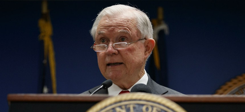 Attorney General Jeff Sessions speaks at a news conference in Washington on Monday.