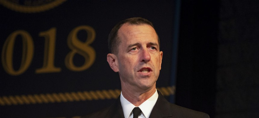 Adm. John Richardson delivers remarks during the CNOs' 23rd International Seapower Symposium in September.