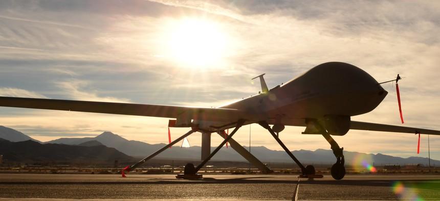 An MQ-1 Predator sits on the flight line Dec. 8, 2016, at Creech Air Force Base, Nev.