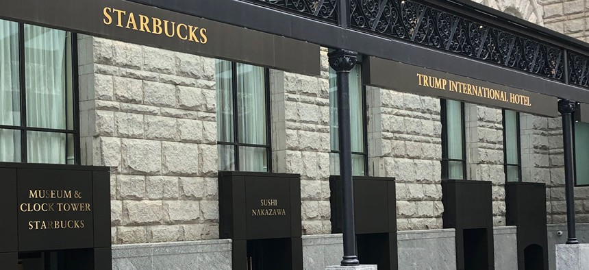 The entrance to the tower is not the same as the main entrance to the Trump International Hotel.