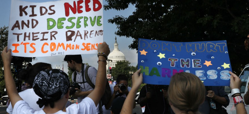 Protesters in July rally against the separation of children at the border.