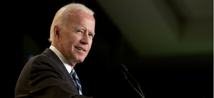 Former Vice President Joe Biden speaks at the International Association of Firefighters on Capitol Hill in Washington Tuesday. He also spoke to the American Society for Public Administration.