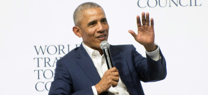 Former President Obama speaks in Seville, Spain in early April.
