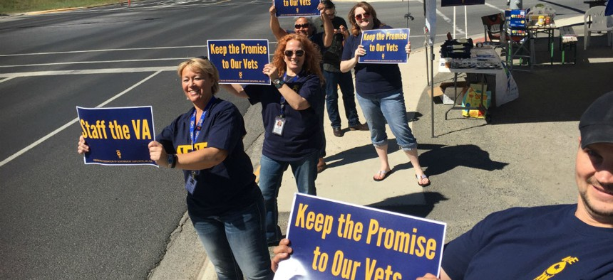 AFGE members protest the closing of VA facilities in 2016.