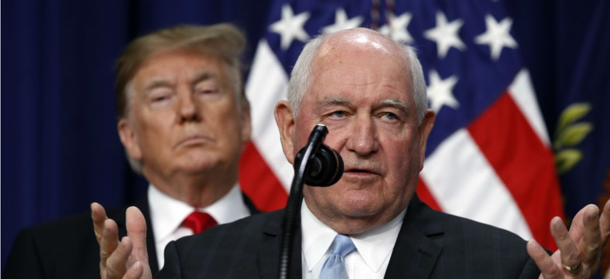 Agriculture Secretary Sonny Perdue, shown here speaking at a press conference with President Trump in December, had wanted to move job corps centers out of USDA to streamline operations.