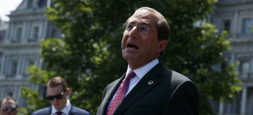Secretary of Health and Human Services Alex Azar talks to reporters outside the White House, Monday, June 24.