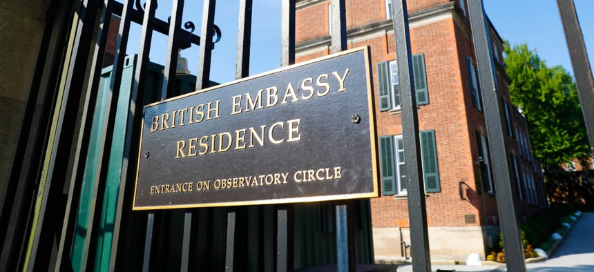 The British Embassy Residence in Washington is shown in July.