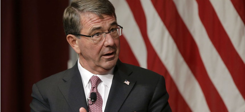 Former Defense Secretary Ash Carter addresses an audience in October 2017 at a national security forum at the John F. Kennedy School of Government, at Harvard University.