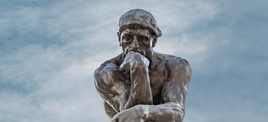 """Auguste Rodin's """"The Thinker"""" at the Palace of the Legion of Honor in San Francisco."""