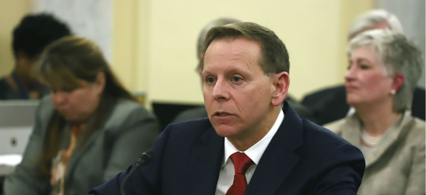 Paul Lawrence, undersecretary for benefits at the Veterans Affairs Department, takes questions at a Senate Veterans Affairs Committee hearing in April 2018.