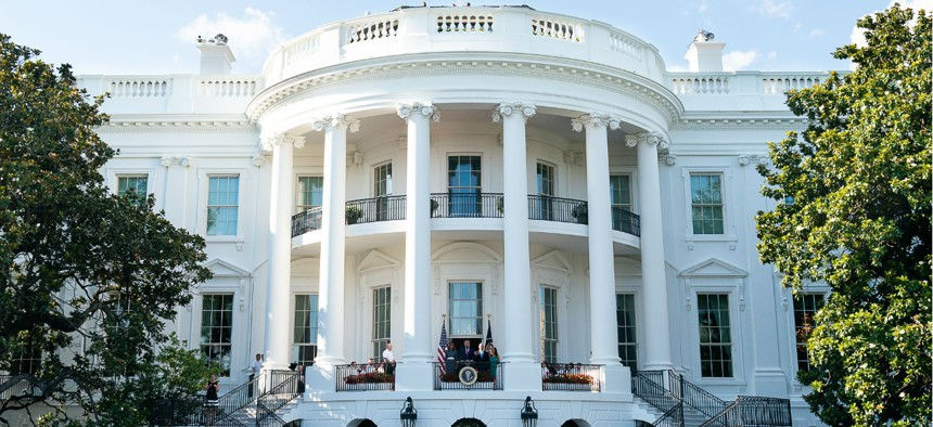 President Trump delivers remarks from the Blue Room Balcony during the Congressional Picnic at the White House on June 21.