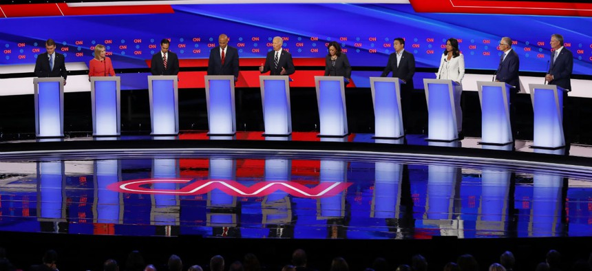 Ten candidates participate in the second of two Democratic presidential primary debates hosted by CNN on Wednesday.