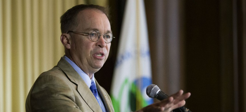 Acting White House Chief of Staff Mick Mulvaney speaks during a media availability at the Environmental Protection Agency in June.