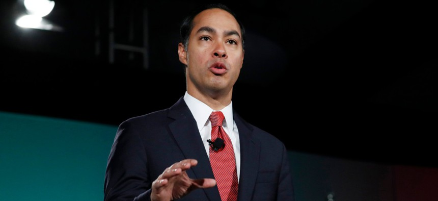 Former Housing and Urban Development secretary and Democratic presidential candidate Julian Castro speaks during a forum on labor issues Saturday.