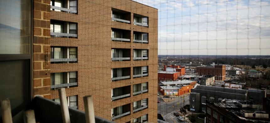 This Feb. 26, 2019, photo shows Rosemont Tower in Baltimore from a resident's balcony.
