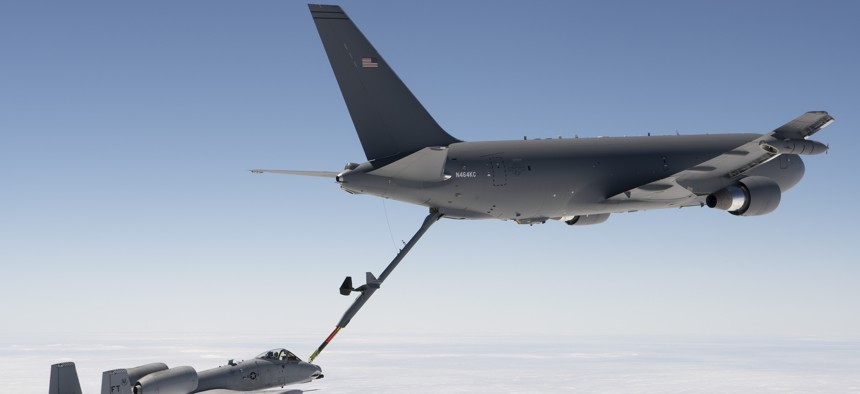 A KC-46 Pegasus refuels an A-10 Thunderbolt II in a 2016 flight test. But the stiff boom makes it harder than it should be to gas up the A-10.