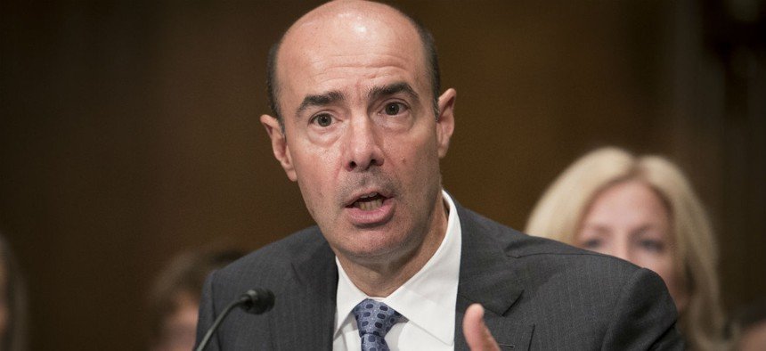 Eugene Scalia testifies during his confirmation hearing earlier in September.
