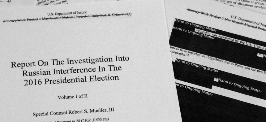 Robert Mueller's redacted report on Russian interference in the 2016 presidential election.