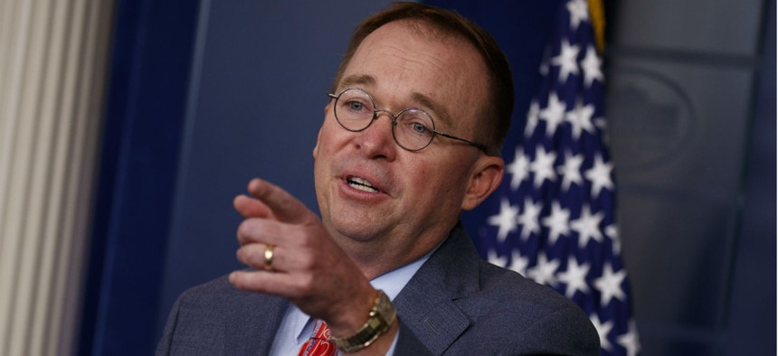 Acting White House Chief of Staff Mick Mulvaney holds a press conference Thursday.