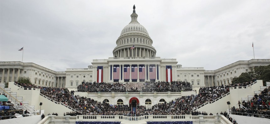 President Trump delivers his inauguration address on Jan. 20, 2017.