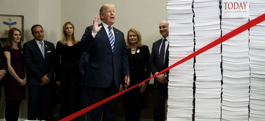 President Trump speaks at a December 2017 event on cutting regulations.