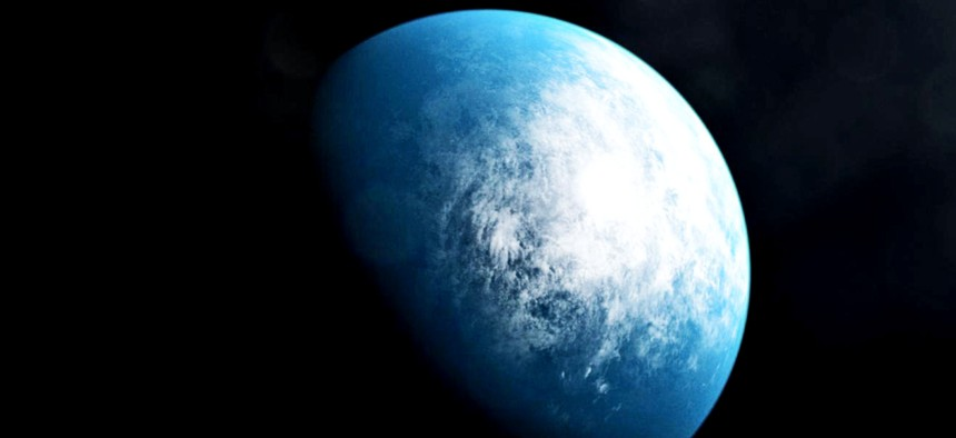 An illustration of what the climate of the newly discovered exoplanet TOI 700 d might look like.