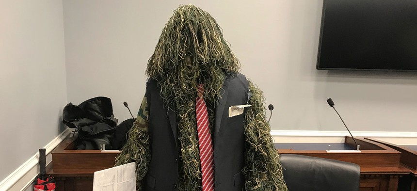 """A """"swamp monster"""" appeared along with Republican Study Committee members during a Thursday event to unveil the committee's reform plan."""