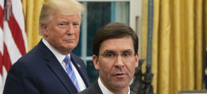 President Trump and Defense Secretary Mark Esper at the White House in July 2019.