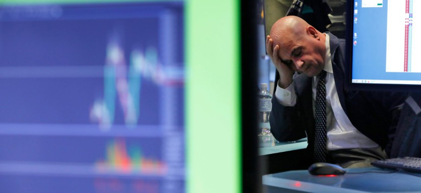 U.S. stocks fell in midday trading on Feb. 25, a day after the market's biggest drop in two years, as traders worried that the spreading coronavirus will threaten global economic growth.