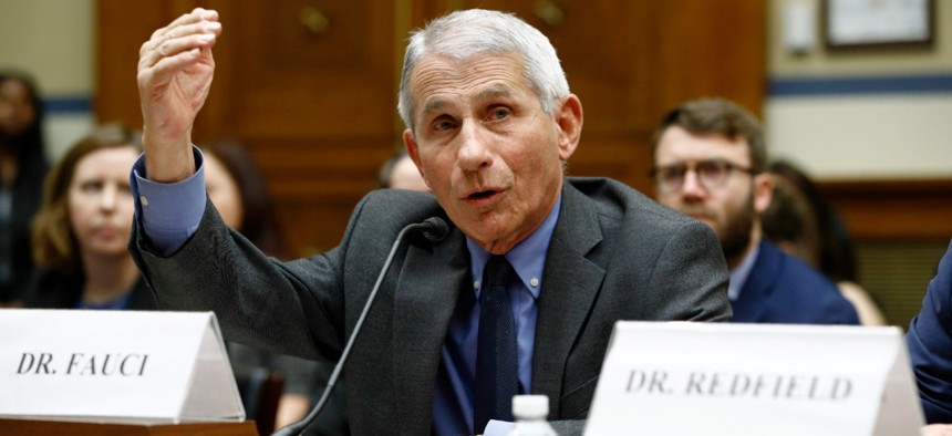 Dr. Anthony Fauci, director of the National Institute of Allergy and Infectious Diseases, testifies before a House Oversight and Reform Committee hearing on preparedness for and response to the coronavirus outbreak.