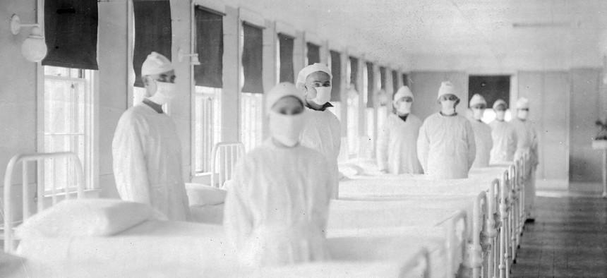 The influenza ward of the U.S. Naval Hospital on Mare Island, California, 1918