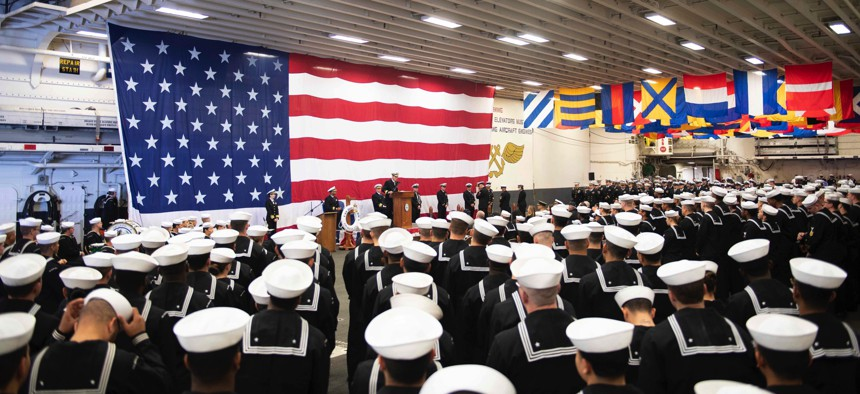 On Feb. 11, 2020, the crew of the USS Boxer gathered in the hangar bay during Boxer's 25th anniversary celebration. Boxer was commissioned on Feb. 11, 1995 in Pascagoula, Miss.