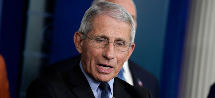 Dr. Anthony Fauci speaks at the White House on Mach 17.