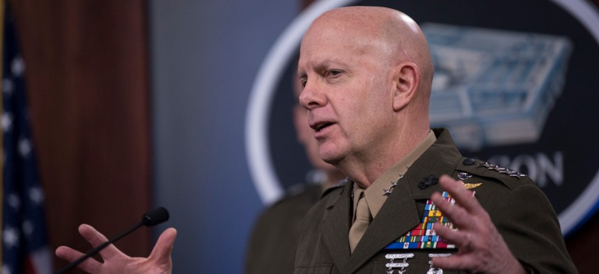 Commandant of the Marine Corps Gen. David H. Berger delivers remarks at a press briefing about the Marine Corps and COVID-19 on March 26.