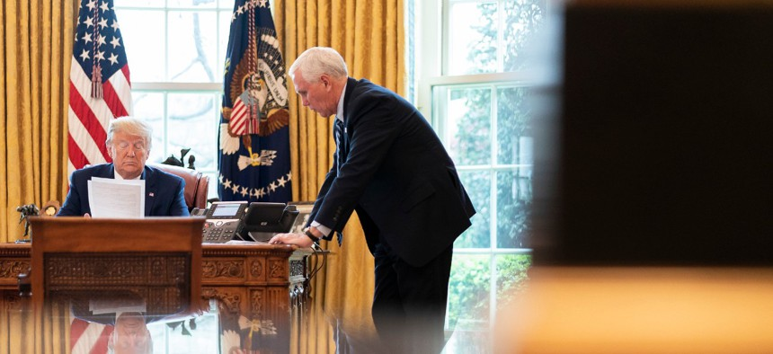 President Trump and Vice President Pence speak to military family members from the Oval Office.