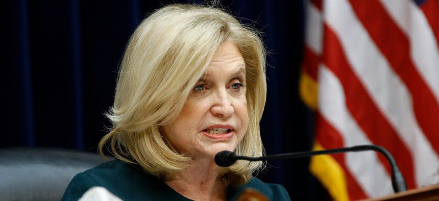 """Rep. Carolyn Maloney, D-N.Y., noted """"many civil servants and contractors find themselves at the forefront of combatting the virus,""""  yet are struggling like other Americans to adjust to new family and financial circumstances."""
