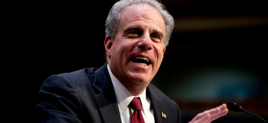 Justice Department Inspector General Michael Horowitz testifies on Capitol Hill in December. Horowitz appointed Westbrooks to head the oversight committee.