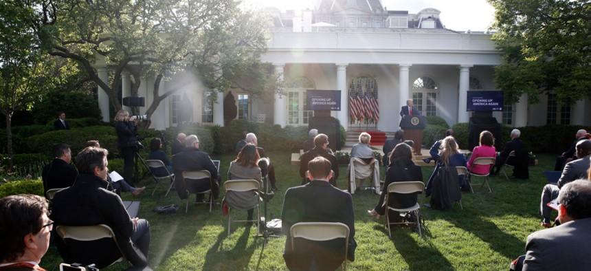 President Trump speaks about the coronavirus in the Rose Garden of the White House on April 27.