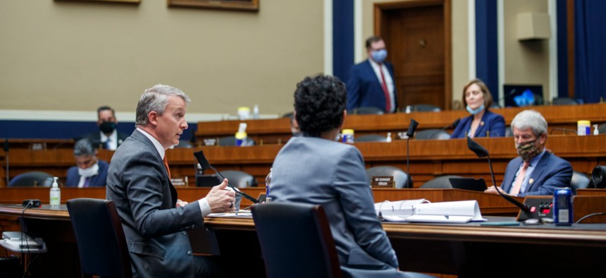 Rick Bright, former director of the Biomedical Advanced Research and Development Authority, testifies Thursday before the House Energy and Commerce Subcommittee on Health.