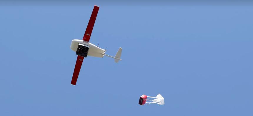 A Zipline delivery drone.