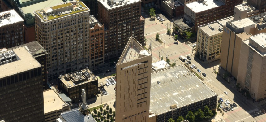 Top view on the Metropolitan Correctional Center, Federal Bureau of Prisons, in Chicago.
