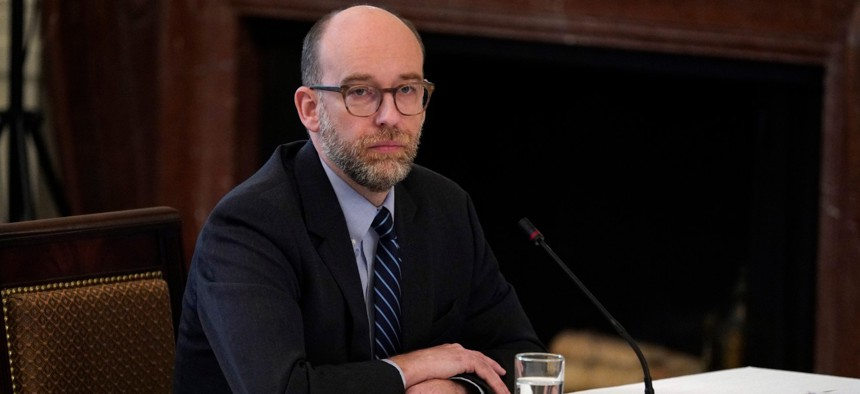 Acting OMB Director Russell Vought attends a Cabinet meeting on May 19.