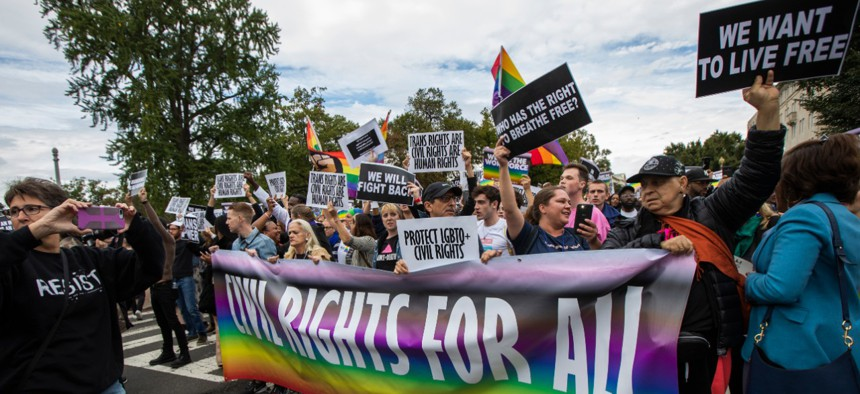 Supporters of LGBT rights protest in front of the U.S. Supreme Court in October.