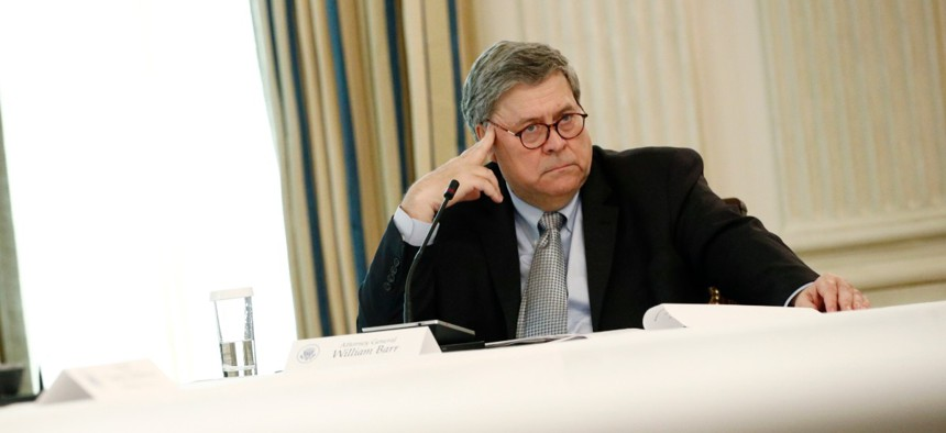 Attorney General William Barr listens during a roundtable discussion with law enforcement officials on June 8.