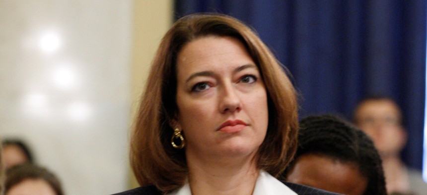 Federal Election Commissioner Caroline Hunter, shown here on Capitol Hill in 2009, is resigning effective July 3.