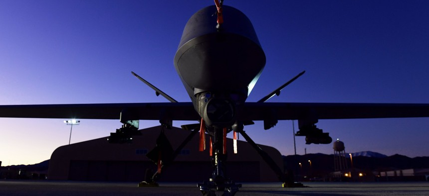 An MQ-9 Reaper sits on the flight line at Creech Air Force Base, Nevada, in December 2019.