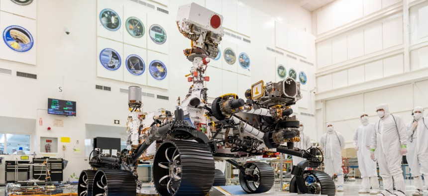 In a clean room at NASA's Jet Propulsion Laboratory in Pasadena, Calif., engineers observed the first driving test for the Mars rover, Perseverance. Perseverance will search for signs of past microbial life, characterize Mars' climate and geology, and col