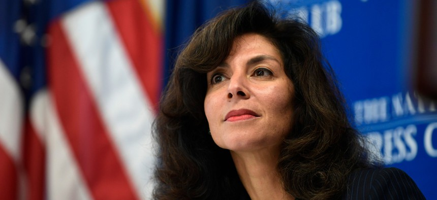 Ashley Tabaddor, a federal immigration judge in Los Angeles who serves as the president of the National Association of Immigration Judges, speaks at the National Press Club in 2018.