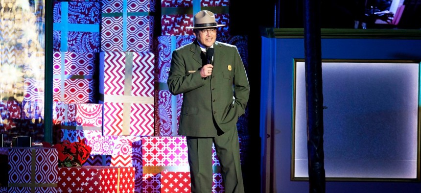 R. David Vela, deputy director of the National Park Service, speaks at the National Christmas Tree Lighting in 2019.