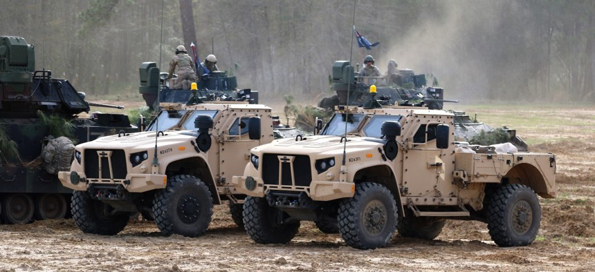 Two JLTVs during an exercise at Fort Stewart, Georgia.